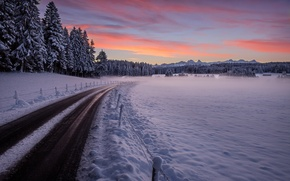 Picture road, snow, sunset