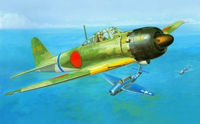 Picture the sky, the ocean, war, fighter, Mitsubishi, Art, American, Japanese, deck, Zero, TBM, torpedo bomber, …