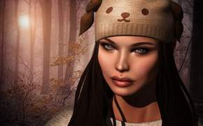 Picture face, background, hat, Girl