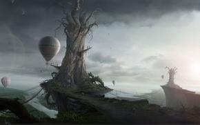 Wallpaper the world, Fantasy, sadness, trees, Islands, evacuation, ballooning, the sky, fantasy, landscape, balloons