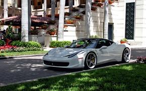 Picture Ferrari, Grass, 458, White, Tuning, Villa, Italia, Wheels, Yard