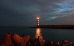 Picture sea, beach, lighthouse, pierce, twilight