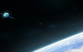 Picture space, planet, ring, stars, comet
