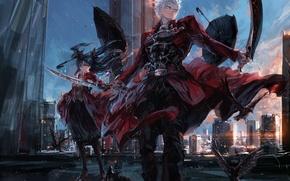 Picture girl, anime, art, rin tohsaka, fate/stay night, archer, stu dts, upscale