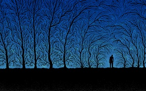 Wallpaper trees, branches, blue, black, people