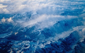 Wallpaper blue, clouds, Mountains