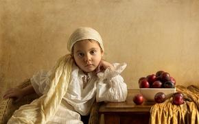 Picture styling, girl, plum, Renaissance, imitation, the art style