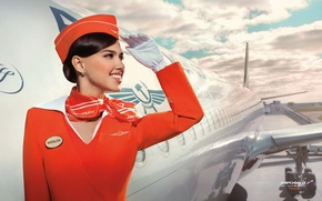 Picture the sky, smile, brunette, beauty, the plane, Aeroflot, Stewardess