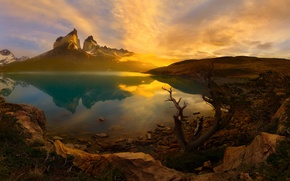 Picture morning, Chile, South America, Patagonia, the Andes mountains, national Park Torres del Paine