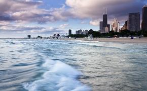 Picture sand, beach, water, shore, skyscrapers, America, Chicago, USA, Il