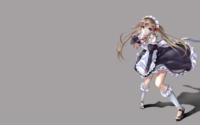 Picture smile, the wind, shadow, blonde, gloves, knee, grey background, The maid, apron, ruffles