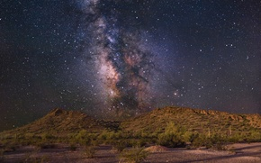 Picture stars, the fence, hill, The Milky Way, secrets