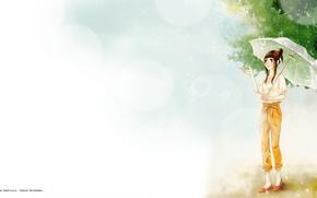 "Picture summer, drops, foliage, umbrella, Say i love you, Mei Tachibana, summer rain, Say ""I love …"