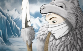 Picture cold, winter, look, snow, face, weapons, spear, hunter, the skin of a bear