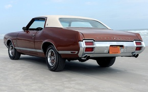 Picture beach, 1971, back, muscle car, beach, muscle car, florida, oldsmobile, FL, supreme, the Oldsmobile, cutlass