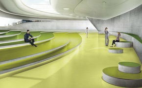 Picture green, style, modern, people, room, rendering, stage