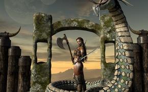 Picture girl, snakes, warrior, black lotus