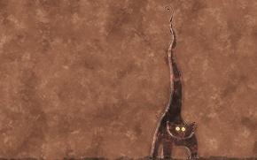 Picture cat, fish, bones, brown