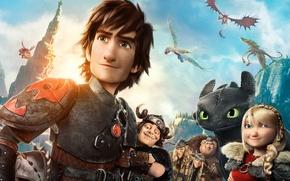 Picture Dark, Action, Fantasy, Dragon, Green, DreamWorks, Wallpaper, Family, Eyes, Boy, Animation, Viking, Toothless, Movie, Mask, …