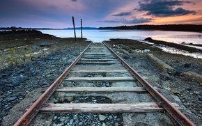 Picture the sky, rails, the evening, Eclipse, river