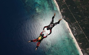 Picture beach, reef, skydivers, extreme sports, parachuting, formation skydiving, 2-way FS