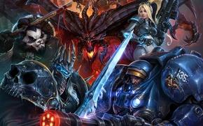 Picture Warcraft, Starcraft, Diablo, Blizzard Entertainment, heroes of the storm art