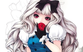 Wallpaper flowers, loli, doll, desire, curls, bow, girl, red eyes, pattern, temptation, glove, doll, background, blonde, ...