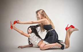 Picture girls, hair, fight, shoes, heel, conflict, fight
