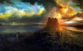 Picture the sky, sunset, castle, forest, RPG, Dragon's Crown