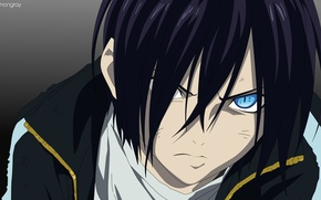 Picture look, anger, guy, noragami, A homeless God, Yato