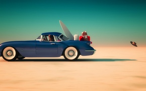 Wallpaper sand, the sky, the sun, blue, desert, the ball, speed, hat, horizon, car, Luggage, suitcases