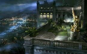 Picture night, angel, pier, balcony, statue, Monaco