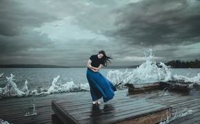 Picture wave, girl, clouds, storm, the wind, element, Kelsie Taylor