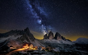 Picture the sky, stars, mountains, night, home, The milky way
