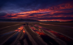 Picture sand, the sky, reflection, sunset, morning, puddles