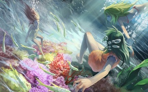 Picture fish, girls, under water, Azoth