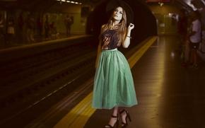 Picture girl, metro, skirt, sandals