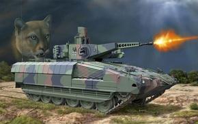 Picture machine, figure, art, combat, mountain lion, Cougar, German, infantry, armored, family, Puma, cat