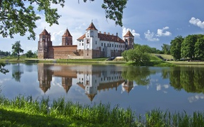 Wallpaper water, reflection, Belarus, Grodno region, Mir castle, pond, Mirsky Castle Complex