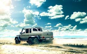 Picture Mercedes-Benz, Clouds, Beach, AMG, Sun, G63, 6x6, Rear, All-terrain vehicles
