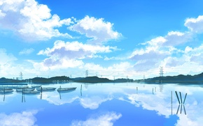 Wallpaper boats, lake, figure, landscape, the sky, pond, clouds