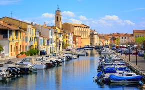 Picture the sky, clouds, river, France, home, boats, channel, bridges, Sunny, Martigues