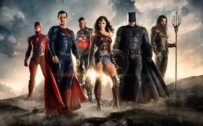 Wallpaper Wonder Woman, Batman, Movie, Cyborg, Flash, Aquaman, Justice League, Justice League, Super Man