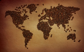 Picture the world, coffee, map, grain, coffee beans, the continent, mainland