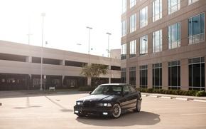 Picture black, the building, BMW, BMW, black, Blik, E36
