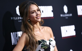 Picture girl, smile, star, beauty, dress, actress, jessica alba