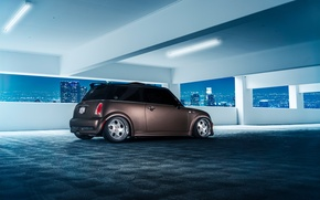 Wallpaper Mini, Cooper, City, Matte, Parking, Stance, Rear, Ligth, Works, Nigth, Grown