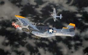 Picture P-51, aircraft, war, art, painting, aviation, battle, ww2, Dogfight