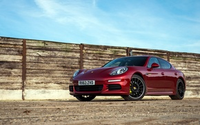 Picture the sky, wall, the fence, Porsche, Panamera, E-Hybrid, red sports car