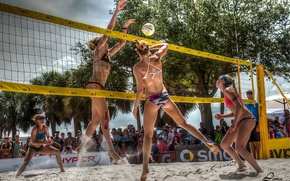Picture summer, beach, block, women, Volleyball, spike, set, serve, dig